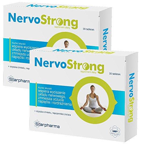 2x NervoStrong | 60 Tabletten für 2 Monate | Einschlafhilfe & Unterstützung Nervensystem und zur Beruhigung | Vegan - Apotheken-Qualität