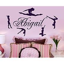 Nombre personalizado y gimnastas Vinilo Adhesivo Pared decoración del hogar Danza Gimnasia Pegatinas Pared Cartel Mural