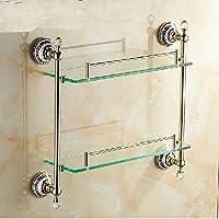 Gowe Crystal Style in ottone dorato a parete mensola mensola mensola da bagno a doppio vetro ripiani portaoggetti | Varietà Grande  | Qualità primaria  | Export  361388