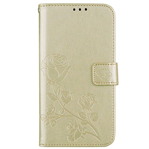 Coque Samsung S7 Anfire Fleur Motif Peint Mode Coque PU Cuir pour Galaxy S7 Etui Case Protection Portefeuille Rabat Étui Coque Housse pour Samsung Galaxy S7 SM-G930F (5.1 pouces) Luxe Style Livre Poch Or