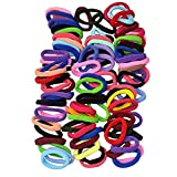 #4: Attire Fashions 90pcs 8mm Mix Colors Girls Elastic Hair Ties Bands Rope Ponytail Holders Headband Scrunchie Hair Accessories