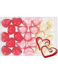 Boîte de 24 perles d'huile de bain fantaisies - Coeurs 3 parfums