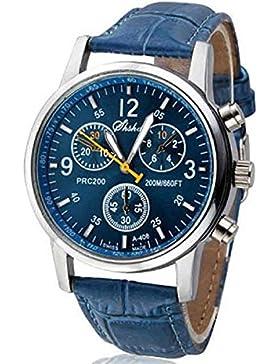 XLORDX Lässig Modisch Freizeit Damen PU Leder Analog Quarz Sportuhr Armbanduhr Blau