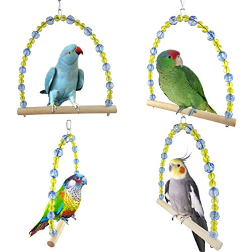 Limiz parrot bird stand bar, scaletta girevole giocattolo da masticare palline colorate altalena stazione per uccelli forniture gabbia per cockatiel amaca altalena giocattolo per animali
