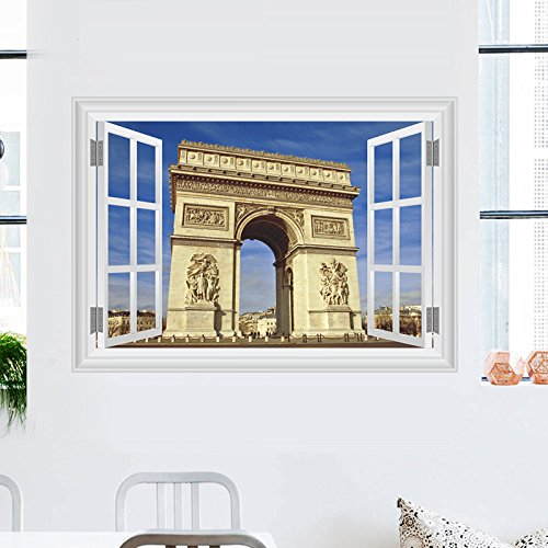 De Arc Triomphe-dekor (Weaeo Moderne Frankreich Arc De Triomphe Wand Aufkleber Home Dekorationen Für Wohnzimmer 3D Fenster Landschaft Wand Aufkleber Pvc Wandmalerei Kunst Poster)