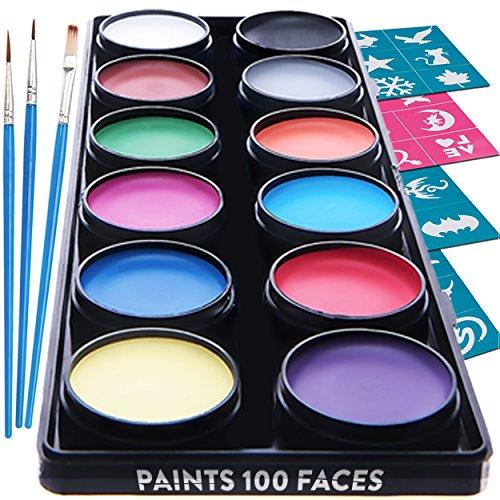 ace Paint – 12 Farben Schminkpalette - Hochwertiges Kinder Schminkset Ideal für Kinder Partys Mädchen & Fasching - Professionellemit Kinderschminke mit großer Auswahl an Schminkfarben, Schablonen, Glitzer, Gesichtsfarben - Wasserbasiert und Ungiftig (Halloween Zombie Make-up-ideen)
