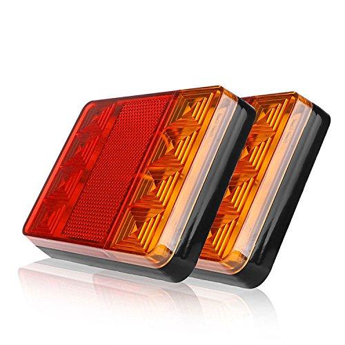 HEHEMM Rücklicht Anhänger, Rückleuchten für KFZ Anhänger 8 LEDs Auto LKW Hintere Warnlichter Hintere Lampen Wasserdichte Rückleuchten Hintere Teile für Anhänger LKW Boot 12V (Satz von 2) (Teile Anhänger Lkw Für)