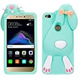 P9 Lite 2017 Funda de Silicona Suave 3D Patrón Diseño Dibujos Animados de Conejito Case Cover, Vandot Conejo en forma Lindo y Elástico Rubber Funda Cartoon Buck Teeth Bunny Rabbit Carcasa Protectora para Móvil Huawei P9 Lite 2017 / P8 Lite 2017 / Huawei Nova Lite / Honor 8 Lite - Color Verde