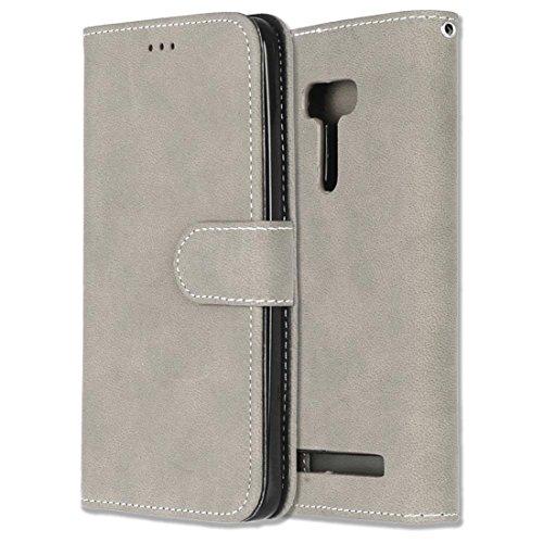 Asus ZenFone Selfie ZD551KL Hülle, Chreey Matt Leder Tasche Retro Handyhülle Magnet Flip Case mit Kartenfach Geldbörse Schutzhülle Etui [Beige]