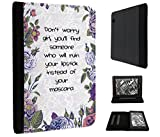 """506 - Shabby Chic Floral Don't Worry Girl You'll Find Someone Who Will Ruin Your Lipstick Design Amazon Kindle Voyage 6"""" (2014-2015 Models) Fashion Trend TPU Leder Brieftasche Hülle Flip Cover Book Wallet Stand halter Case"""