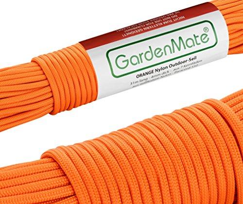 GardenMate Paracord 550 Professionelles Nylon Outdoor-Seil Orange 31m lang 4mm dick - Kernmantel-Seil aus 7 Kernfäden aus reißfestem Nylon -