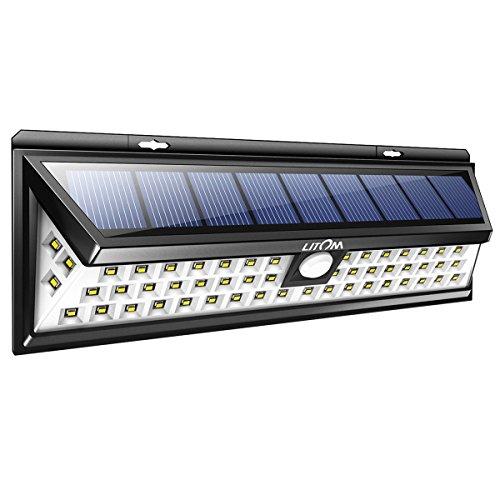 Litom Solarleuchten, 54 LED mit 120° Weitwinkel Bewegungs Sensor Wandleuchte Wasserdichte Außen, Solar Betriebene Außenleuchte, 3 Modi Sicherheit Licht für Garten, Zaun 1 Stück -