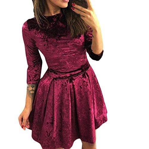 Solide Farbe Samt Schlank Taille Kurz Kleid HARRYSTORE Damen Lange Ärmel Abend Party Mini Kleid (Wein, S) (Kleid Samt-rosa Kleine)