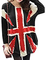 OYMMENEY Women UNION JACK Prints Long Sleeve Pullover T-Shirts Blouses Tops