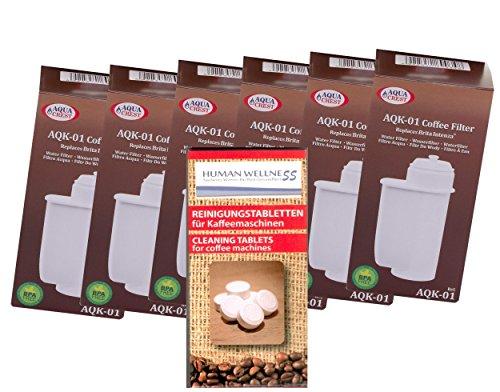 Human-Wellness 6 x AQK-01 Wasserfilter ersetzen BRITA INTENZA Filterkartusche für Bosch/Siemens EQ.3 EQ.6 EQ.8 EQ.9 / Neff/Gaggenau Kaffeemaschine Kaffeevollautomat + 10 Reinigungstabs