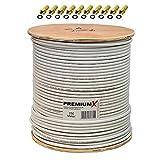 PremiumX PROFI 250 m Koaxialkabel 135 dB 4-Fach geschirmt CU reines Kupfer Satelliten Koaxkabel Antennenkabel Digital SAT TV Koax Kabel RG-6 Class A 250m auf Holz-Trommel mit 10x F-Stecker vergoldet mit Dichtring GRATIS dazu