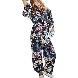 WTDlove Otoño e invierno piña pijamas 2 piezas confort kimono hoja amplio pie pantalones de las señoras casa vestido suelto SE cómodo XY