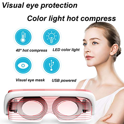 WUHX Soin de la Peau Triple Couleur Visual Eye Massager 40 ° Température constante Massage Chaud Face Beauté Machine USB Soulager la Fatigue