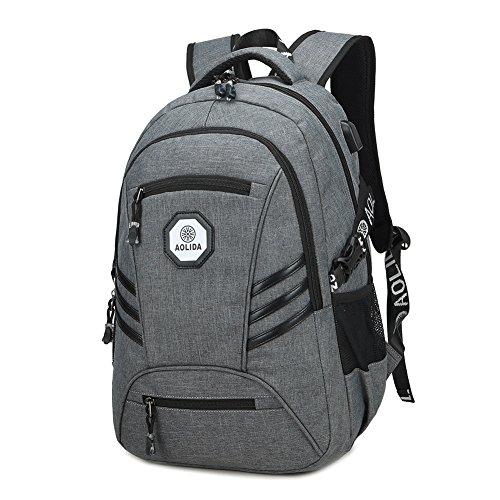 Schulrucksack Mädchen Jungen 15,6 Zoll Laptop Backpack wasserdicht Rucksack mit Laptopfach Großer Kapazität Lässiger Daypacks mit USB-Ladeanschluss für Damen Herren für Schule Wandern Reisen (Grau)