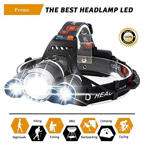 Stirnlampe LED Wiederaufladbar | Wasserdichte Led Kopflampe 10000 Lumen. Headlight Ideal als Helmlampe, Lauflampe Joggen, Campen, Angeln | Leicht Einstellbar und ultrahell