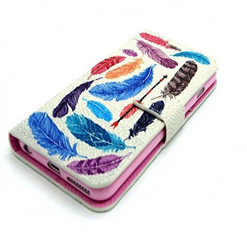Uklayfe Book Style Design Portafoglio Custodia in pelle Cuoio Custodia Protettiva Portafoglio Flip Case Cover per iphone 6/6S (4.7 pollice) con funzione di supporto e chiusura magnetica Con Gratis Sti piume colorate