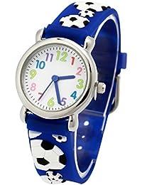 El Reloj de Niños de Vinmori, Reloj de Cuarzo con Dibujos Animados Bonitos de 3D a Prueba de Agua Regalo para Chicos Niños y Niñas Fútbol Azul