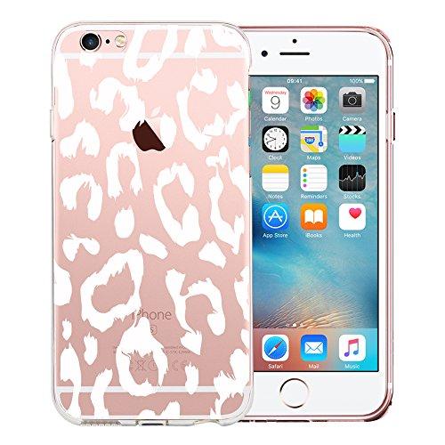 Original Lanboo® Motiv Muster Druck TPU Silikon Case Cover Hülle Handytasche Schale Schutzhülle Tasche für Apple iPhone SE - Design 33 - Gepard Leopard Flecken tattoo Weiß