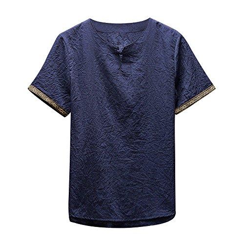 Ujunaor t-shirt a manica lunga da uomo in cotone a manica corta manica corta in lino retrò da uomo,m,l,xl,xxl,3xl,4xl,5xl(medium,marina militare)