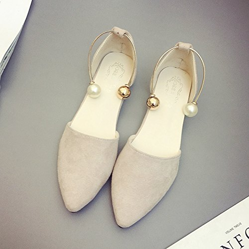 RUGAI-UE Estate sandali donne bocca poco profonda calzature Moda scarpe a punta piatta Beige
