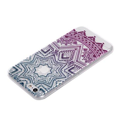 Qiaogle Téléphone Coque - Soft TPU Silicone Housse Coque Etui Case Cover pour Apple iPhone 7 (4.7 Pouce) - DD05 / Mandala Leaves Fleur DD15 / Five Pointed Star fleur