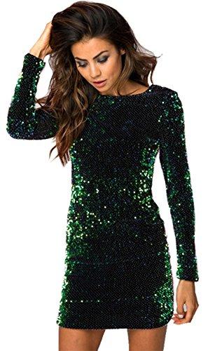 Moda a maniche lunghe scollato sul retro brillante sequin con paillettes glitterate sequined mini corte corta bodycon aderente fasciante dress vestito abito verde 2xl