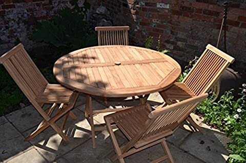 Mortimer 4 Seater Garden Set - Solid Teak 1.2m / 4ft Round Folding Table with Folding Chairs