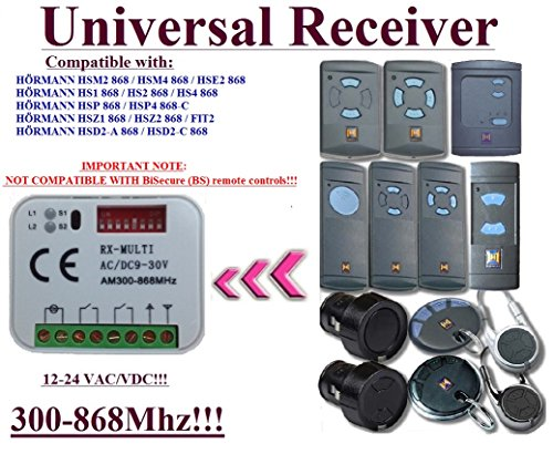 Universal Empfänger kompatibel mit hormann 868,3MHz HET24, HER4868, 868MHz HE1, hei1868MHz Receiver.. Rolling Code Kanal 300mhz-868mhz. Rolling/Fixed code 12–24VAC/DC - Board Torantriebe Control