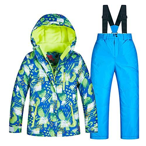 Jungen Skijacke Kinder Skianzug Jungen Set Furnier Double Board Winter dick warm warm Skianzug Wasserdichte Winterjacke für Kinder (Farbe : C6+Blue Pants, Größe : 14 Yards) - Ski-jacken Mädchen-größe 14 Für