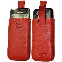 Suncase Original Echt Ledertasche für Samsung Galaxy S Advance i9070 (Hülle mit Rückzugsfunktion) in wash-rot