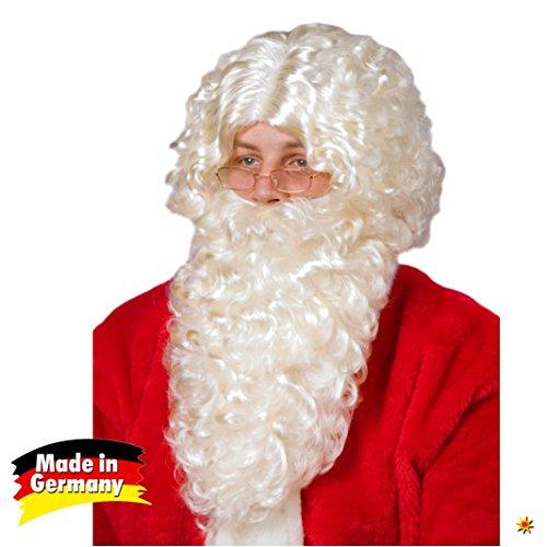 Weihnachtsmann Set Bart und Perücke Natur, Made in Germany, Nikolaus Kostüm Weihnachten ()