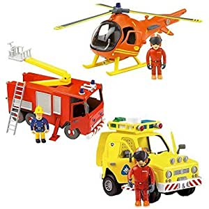 Fireman Sam Deluxe Friction Rescue Jupiter, Hélicoptère & Rescue Set véhicule