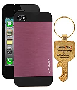 FUSON METALLIC FINISH DUAL LAYER MOTOMO HARD BACK CASE COVER FOR APPLE IPHONE 4/ 4G/ 4S - PINK BLACK WITH KEY