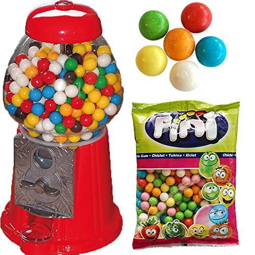 Dubble Bubble Kaugummiautomat rot Retro 27cm hoch aus Glas + 1kg Fini bunte Kaugummikugeln für die Füllung,