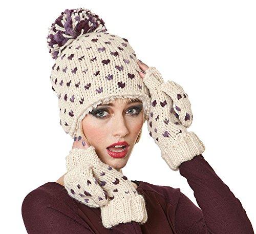 Herzen Design Fashion Winter Set. Beanie Hat Plus Haarband & Mitt Handschuhe (Minnie Danke)