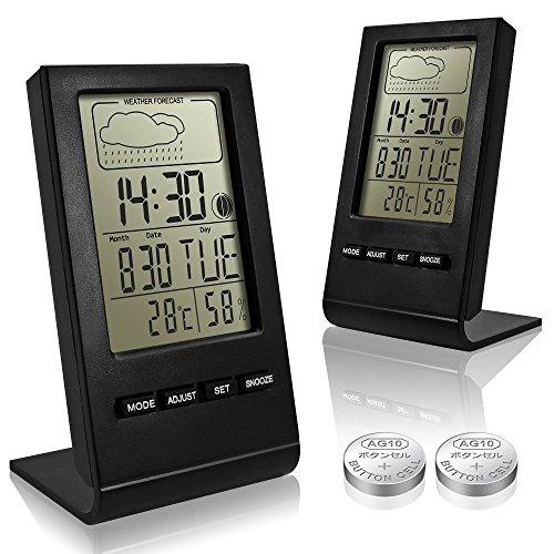 Indoor Senhai Digital Hygrometer Thermometer, 2er-Pack und Feuchtigkeitsmessgerät Temperaturmonitor mit Wecker, 2 Knopfzellen inklusive