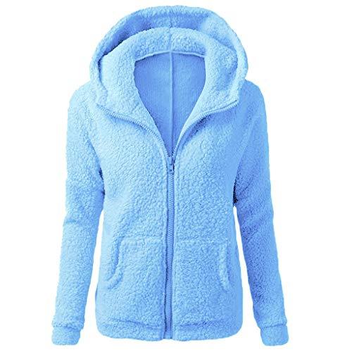 TIZUPI Fashion Damen Coat Winterjacke Warme Fleecejacke Winter Damen Mantel Große Größen Einfarbig Mit Reißverschluss Hoodie Coat Warmer Baumwollmantel Girl Autumn Winter Outwear(Blau,XXXXL