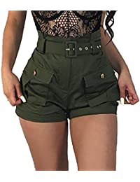 YYong Womens High Waist Solid Color Belted Button Pockets Military Shorts