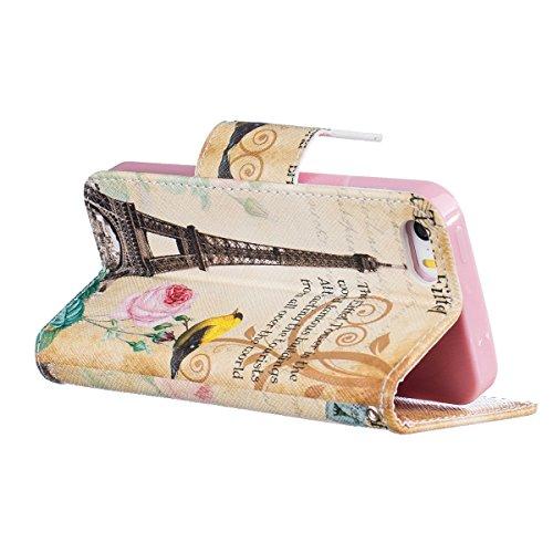 iPhone 6S Plus Schutzhülle,iPhone 6 Plus Lederhülle,JAWSEU Lanyard Schutzhülle für iPhone 6 Plus 5.5 Zoll,Elegante Retro Handyhülle Tasche Flip Cover Wallet Prägung Mädchen Katze Blumen Strap Muster B #Paris Turm