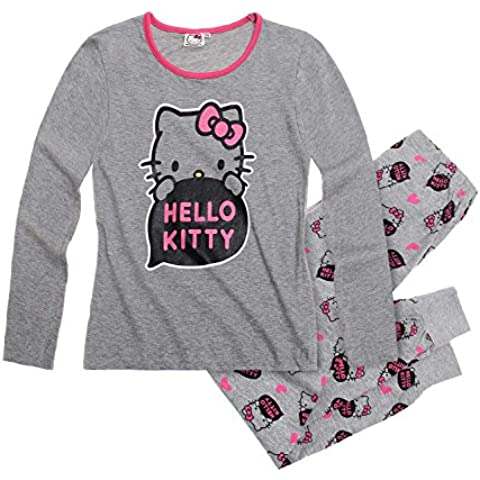 Hello Kitty-Conjunto de pijama, diseño de niña, color gris
