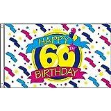 Geburtstagsbanner, 150 x 90 cm, 100 % Polyester, ideal für Kneipen/Clubs/Schule/Festival/Büro/Party-Dekoration, Aufschrift: Happy 60th Birthday
