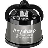 AnySharp Pro Aiguiseur de Couteaux Métal avec Ventouse Métal brossé  6 x 6 x 6,4 cm