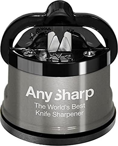 AnySharp Pro Metal Knife Sharpener with Suction, Brushed Metal