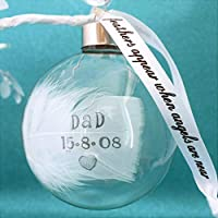 A Round Glass Bauble Any Name Date Hand Stamped White Feather Colour Options Angels Are Near Ribbon