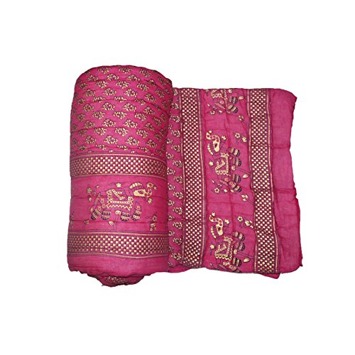MSE Brand New pink color Double bed Comforters traditional Jaipuri cotton Razai/ Rajai/ Quilt with Golden Floral Print(color as per availability)